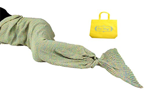 Kostüm Schlafen Den Fischen Mit - Sun selbst Meerjungfrau Schwanz Decke Crochet für Erwachsene Jugendliche Kinder Wohnzimmer Schlafzimmer Sofa Super Soft Decken Schlafsäcke, Mikrofaser, gelbgrün, 70.7x35.4