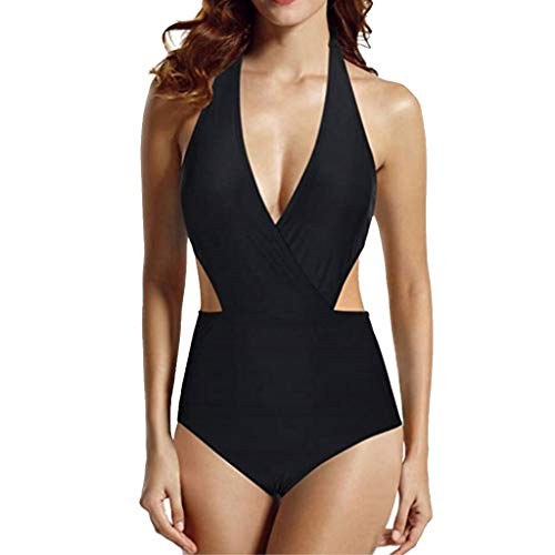 Dhyuen Women Monokini Swimsuit Sexy Deep V Neck Halter Cut Out High Waisted Swimwear Beachwear -