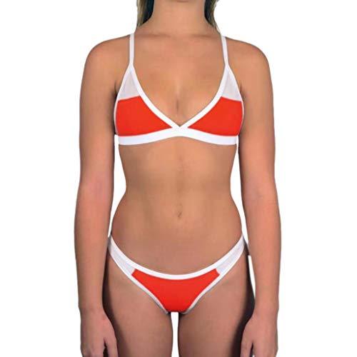 CICIYONER u2764ufe0fu2764Nahtloser Bikini-Badeanzug der Frauen, Damen Bandeau Bikini Set Push-Up Brasilianische Badebekleidung Beachwear Badeanzug (L, rot)
