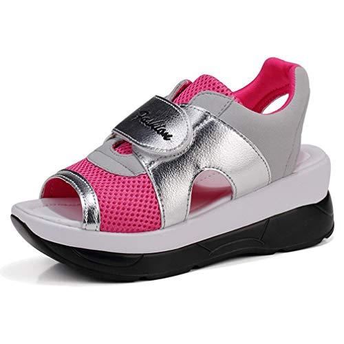 Hishoes Damen Sommer Atmungsaktiv Mesh Sport Outdoor Sandalen Fitnessschuhe Gesundheitsschuhe Offene Zehen Sneakers, Rot, 39 EU