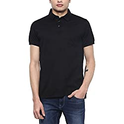 Indian Terrain Mens Solid Regular Fit T-Shirt (ITMTS00017_Black_M)