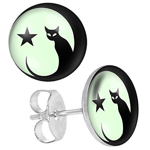 (Ohrstecker, nachtleuchtend, Motiv Katze und Mond, Unisex, aus Edelstahl)