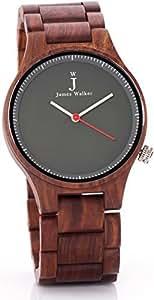 James Walker Red Edition Holzuhr geeignet für Herren und Damen zeitlos und klassische Sandelholz Armbanduhr perfekt als Geschenk