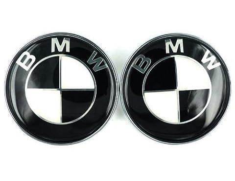 BMW schwarz weiß 82mm 8,2cm Kapuze vorne & Kofferraum hinten Emblem Logo selbstklebend, 2