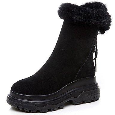 SANMULYH Scarpe Donna Autunno Inverno Snow Boots Fashion Stivali Stivali Da Combattimento Stivali Liane Round Toe Mid-Calf Scarponi Per Casual Party & Sera Nero