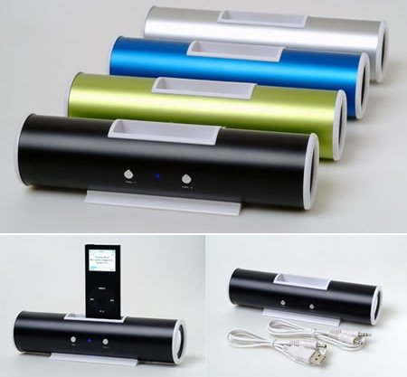 Ricco V5 Aluminium-Lautsprecher mit Docking-Station, Ladegerät, kompatibel mit 30 Pin, iPhone 4S iPod Touch Nano Classic 2G 3G 3GS/3G 4 G4 S G2 G3 G5 G6 8GB 16GB 32GB 64GB - 3.5mm-Audio-Eingang für Handys, laptops, PSPs, Schwarz