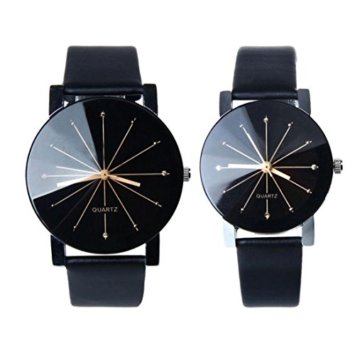 Kfnire-1Pair-Men-and-Women-Synthetic-Leather-Round-Case-Quartz-Analog-Couple