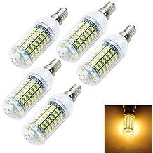 YangR* 5pcs E14 12W 1000LM 6500K/3000K 69-5730 SMD LED blanco frío/caliente Lámpara de maíz (AC 220~240V) , blanco-blanco frío
