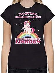 Karneval & Fasching - Das ist Mein Menschenkostüm Einhorn - L - Schwarz - L191 - Tailliertes Tshirt für Damen und Frauen T-Shirt
