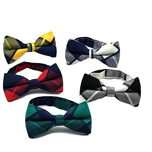 Krawatten und Fliegen für Mens Assorted Pattern Pre-Tied Verstellbare Krawatte Bowties Plaid Casual Business Fliege Kragen Blume, 5 Stücke Krawatten und Fliegen für Plaid Bowties