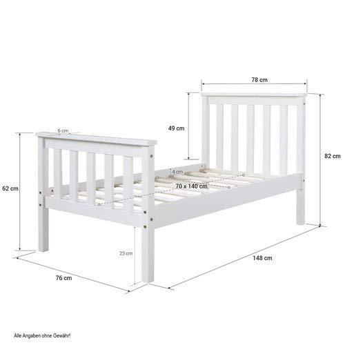 Homestyle4u 1417 Holzbett Kiefer massiv, Einzelbett aus Bettgestell mit Lattenrost, 70×140 cm, Weiß - 7