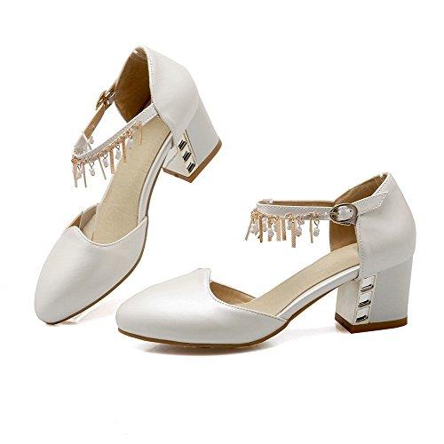 AgooLar Femme à Talon Correct Mosaïque Boucle Matière Souple Rond Chaussures Légeres Blanc