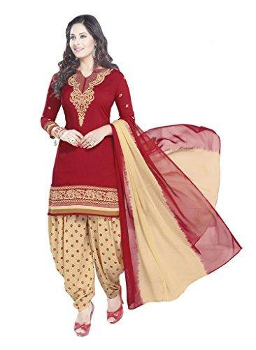 Ishin Women\'s Dress Material (Ddrvarmnsn-1859_Red & Beige_One Size)