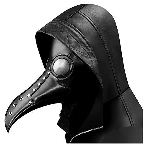 Quner PU Halloween Maske, Pest Vogel Doktor Schnabelmaske Pest-Maske Halloween Cosplay ,Retro Felsen Party Masken Kostüm Dekoration (Schwarz)