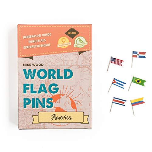 Miss Wood America Banderas del Mundo World Flag Pins, Adhesivo, Rosa, 15.6 x 11...