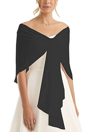 Brautstola Schal in Form, Stola Rundstola Chiffon zum Hochzeitskleid / Abendkleid, schwarz