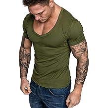 Camisetas Hombre Manga Corta ❤ Absolute Blusa de Verano con Cuello en V para Hombre