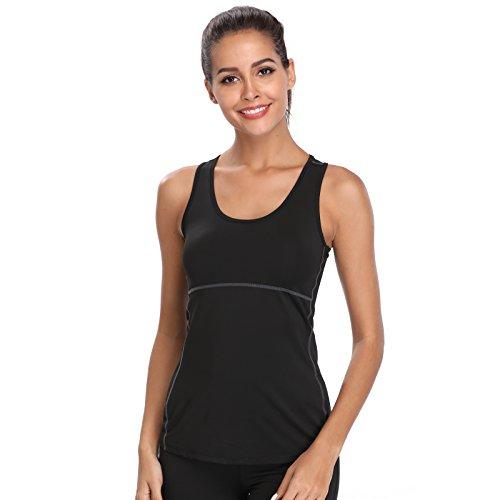 Joyshaper Camiseta de Deportes para Mujer Top de Tirantes Chaleco Ajustado de Compresión de Secado Rápido Sudadera Ropa Deportiva sin Mangas (Negro, XX-Large)
