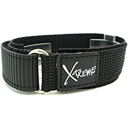 New X-Treme 20mm Tough Secure Hook & Loop Nylon Watch Band Strap Gents Men's with Ring End - Black