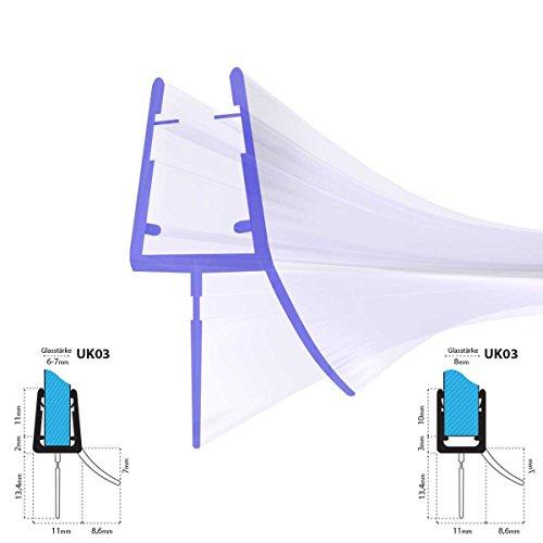 duschdichtung gebogen STEIGNER Duschdichtung, 100cm, Glasstärke 6/ 7/ 8 mm, Gebogene PVC Ersatzdichtung für Runddusche, UK03
