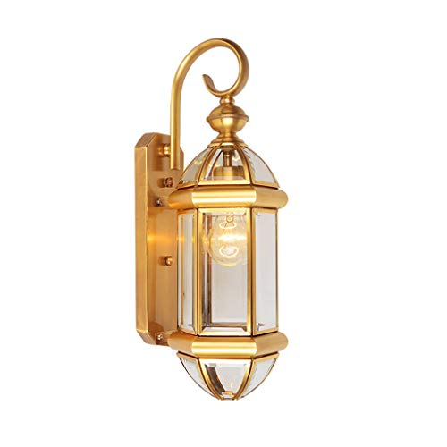 Lampe de mur de cuivre de style européen la maison extérieure rétro jardin éclairage simple couloir couloir balcon mur extérieur escalier lampe de mur