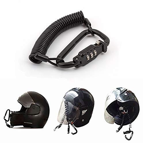 Casco moto con lucchetto combinazione pin nero Chiusura moschettone sicura motocicli con cavo di 6metri, casco per bicicletta, giacca, armadietti lucchetto bagagli impermeabile con guaina in gomm