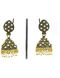 Shree Mauli Creation Golden Alloy White Pearl Oxsided Jhumka Earring For Women SMCE390