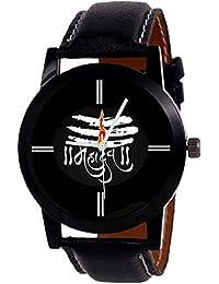 Cloudwood New Designer MAHADEV Print Dial Black Leather Belt For Boys Watch-86