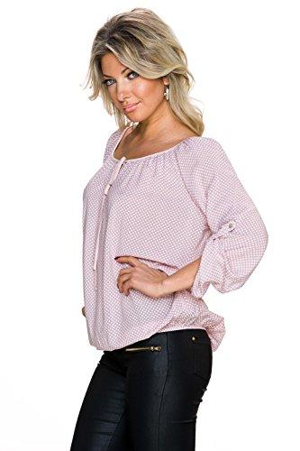 Fashion Dame Bluse Tunika Shirt Top 3/4 Ärmel Jersey Minimal Print locker sitzend Rosa