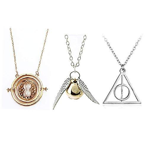 Harry Potter inspiriert 3 Stück Collier-Set Harry Potter Halskette Set -3 Stück Cosplay Anhänger Halsketten Heiligtümer des Todes Golden Snitch und Rotierende Zeit Turner Halskette mit weißem Sand (Turner Halskette Zeit Die)