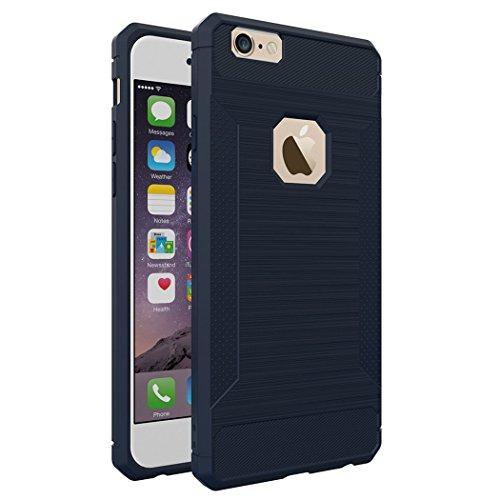 Custodia per iPhone 6,per iPhone 6S Cover, ZCRO Semplice Stile Flessibile Custodia Silicone Carbonio Antiscivolo TPU Gomma Morbida Bumper Protettiva Antiurto Resistente Case Cover per iPhone 6/6S 4.7  Blu scuro