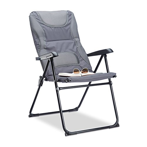Relaxdays Campingstuhl gepolstert COMFORT, verstellbar, 2 Stufen, Anglerstuhl klappbar, HBT: 107 x 60 x 68 cm, grau Test