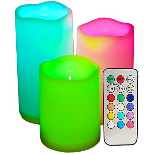 3pcs LED Fackernde Flammenlose Kerzen mit Fernbedienung 3