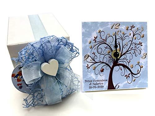 Bomboniere d'arte™ bomboniera battesimo cresima bimbo orologio albero della vita celeste