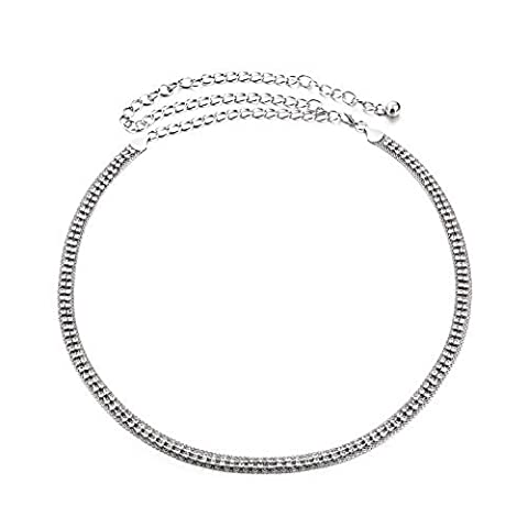 Women's Silver Waist Chain Belt with 2 Rows Diamante Studded Band - Ladies Fashion Accessory with Faux Diamond Gemstone - Ideal for Casual or Semi-Formal Wear - One Size Fits All - Style 522