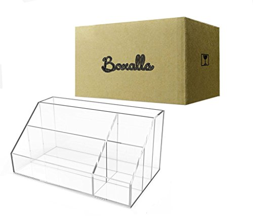 Boxalls-Acrylic-Office-Desktop-Document-Letter-Tray-Holder-or-Personal-Beauty-Care-Makeup-Organizer-Clear