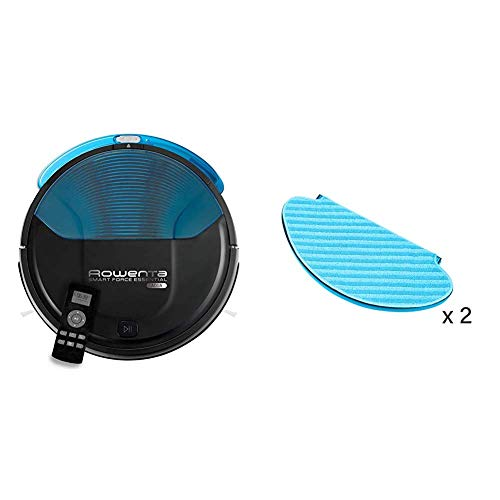 Rowenta Smart Force Essential Aqua RR6971WH - Robot aspirador 2 en 1, aspira y friega, con sensores anticaída + ZR6902ES 2 mopas de Recambio para los Robots de la Gama Smart Force Essential Aqua