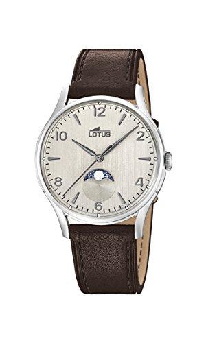 Lotus Watches Homme Phase de Lune Quartz Montre avec Bracelet en Cuir 18427/1