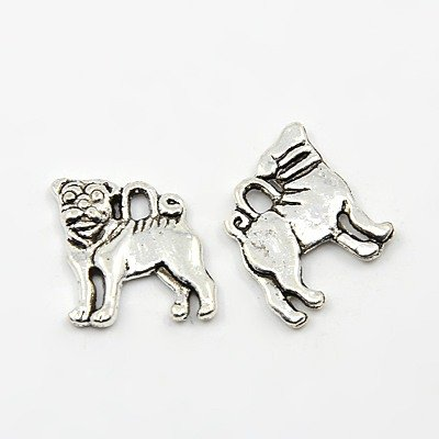 10 x DOGS PUG SHAR PEI Double Sided Tibetan Silver Charms Pendants Beads