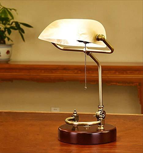 MASOSER Amerikanischer Stil einfaches Design, administrative Banker Lampe, Glas Schatten Antik Messing LED (Farbe : White) (Farben Amerikanischen)