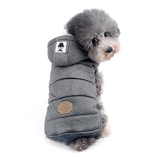 Zunea Kleine Hundeweste, hundemantel, Fleecemantel, Welpenmantel, Wintermantel für Hunde, Kapuzenmantel, winddicht, weich (fällt klein aus, bitte eine Größe größer bestellen) grau L