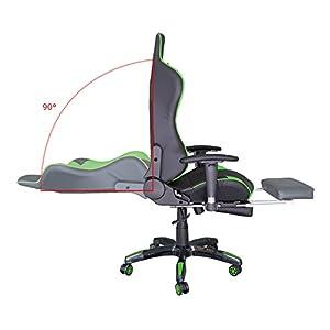 41hu4RJYMkL. SS300  - HG-Silla-giratoria-de-oficina-Gaming-Chair-Premium-Apoyabrazos-tapizados-Comfort-Racing-Chair-Capacidad-de-carga-200-kg-Altura-ajustable-negro-verde