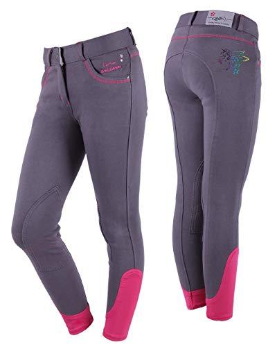 QHP Mädchenreithose Lola Junior Kniebesatz mit Einhorndruck in Regenbogenfarben; verzierte Taschen sowie Text: I am a Unicorn (140, Grau)