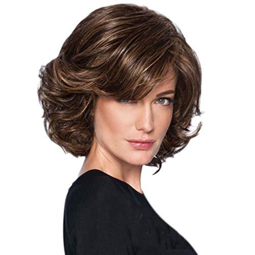 Perruques Naturelles Mode Synthétique Court Fluffy Cheveux Bruns Belle perruque Bouclés Naturel Wig Undertale Ondulé Courte Bouclé Femme