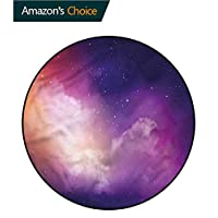 RUGSMAT Night Sky Non-Slip Area Rug Pad Round,Starry Outer Space Theme Pattern Round Area Rugs Thin