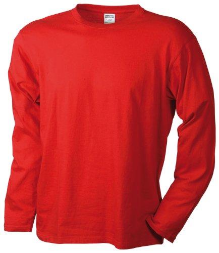 James & Nicholson Herren Langarmshirt Langarmshirt Medium rot (red) Large