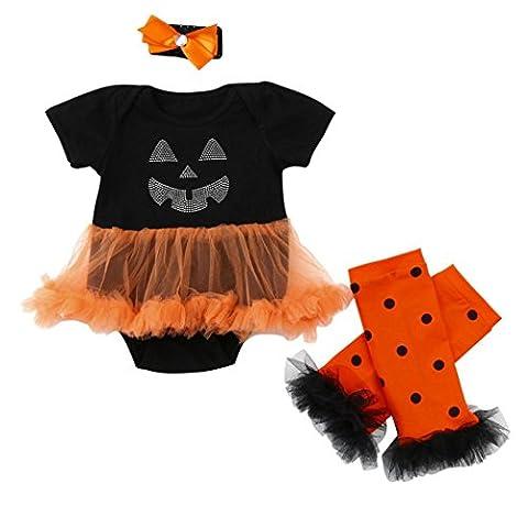 Babykleidung Hirolan Baby Mädchen Halloween Kleider niedlich Tier Strampelhöschen Pyjama Tutu Spielanzug Tops + Beinwärmer 3-18Monate (90cm, (Familie Halloween-kostüme Mit Baby)