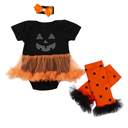 Babykleidung Hirolan Baby Mädchen Halloween Kleider niedlich Tier Strampelhöschen Pyjama Tutu Spielanzug Tops + Beinwärmer 3-18Monate (100cm, Schwarz)