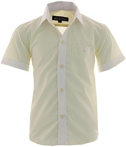 d6918a45d183 GILLSONZ A20 Kinder Party Hemd Freizeit Hemd Bügelleicht Kurz Arm mit 8  Farben Gr.86