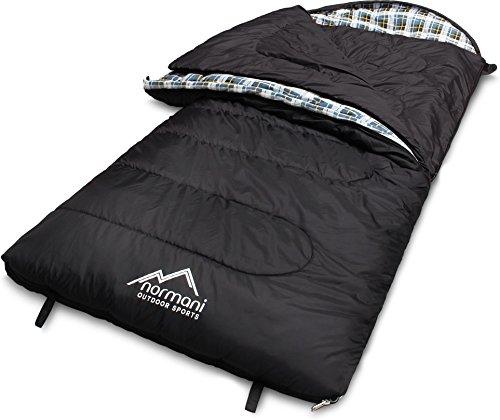 normani 4-in-1-Funktion Extrem Outdoor Schlafsack 'Antarctica' aus Nylon Rip-Stop mit 500 + 250 g/m² Hollow Fiber Füllung 220 x 90 cm Farbe Black Größe Rechts
